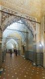 Galerie des Gerichtes der Löwen in Alhambra in der Nacht granada Lizenzfreie Stockbilder