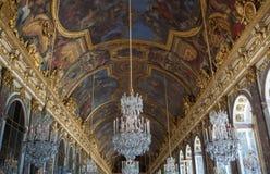 Galerie des-glaces av Château de Versailles, Frankrike Arkivfoton