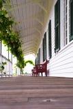 Galerie en bois couverte confortable avec des raisins et des bancs photographie stock