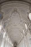 Galerie intérieure de plafond de palais royal de Venaria Reale en tarte Photos stock