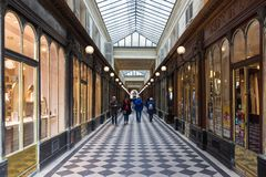 Galerie Vero Dodat near Palais-Royal. Galerie Vero Dodat is one of the 150 passageways and galleries that were opened in. PARIS, FRANCE - MARCH 24 , 2018 Royalty Free Stock Photography