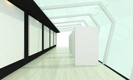 Galerieglasraumschwarzes Stockbild