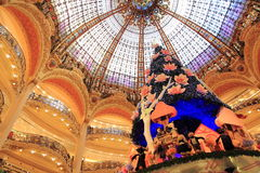 Galeries Lafayette at Christmas in Paris Stock Images