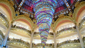 Galeries Lafayette department store, Paris, France, stock video