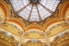 Galeries Lafayette dome, interior in Paris Stock Photos