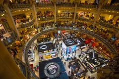 Galeries Lafayette interior in Paris, France royalty free stock images