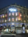 Galeries Lafayette lit up around Christmas time in Paris stock photos