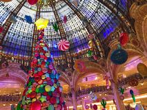 Galeries Lafayette Paris Christmas tree decoration. Paris France, 16 November 2017: Giant Christmas tree decoration inside Galeries Lafayette Parisian department royalty free stock images