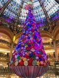 Galeries Lafayette Paris Christmas tree decoration. Paris France, 16 November 2017: Giant Christmas tree decoration inside Galeries Lafayette Parisian department Royalty Free Stock Photo