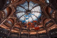 Galeries Lafayette shopping mall in Paris. Galeries Lafayette ceiling in Paris Royalty Free Stock Photo