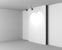 Galerii Biały wnętrze z Pustym biurkiem i lampami royalty ilustracja