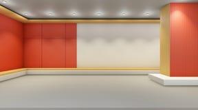 Galerijkunst minimaal en eigentijds op het comfortabele ontwerp van de muurvertoning Stock Foto