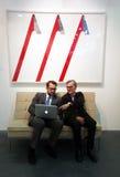 Galeristen in der Kunstausstellung Stockfoto
