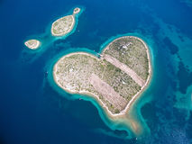 Galesnjak island, Croatia. Aerial view of the heart shaped Galesnjak island on the Adriatic coast of Croatia Stock Photos