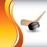 Galet et bâton d'hockey sur l'annonce orange verticale d'onde illustration de vecteur