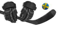 Galet, gants et bâton de hockey suédois Images stock