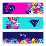 Galet parti för moderiktiga färgrika baner Abstrakta moderna färgbeståndsdelar i grafittistil vektor illustrationer
