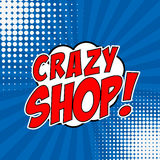 Galet shoppa!!! Komiskt stiluttryck på sunburstbakgrund Design vektor illustrationer