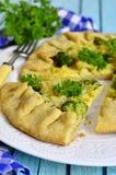 Galette caseiro com brócolis, couve-flor e queijo Imagem de Stock