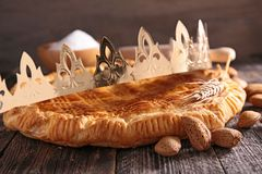 Galette des rois. And crown Stock Images