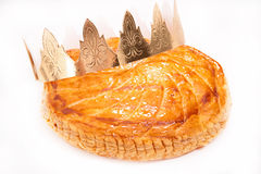 Galette des rois. Isolated on white Stock Image