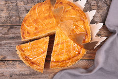 Galette des rois. On wood background Royalty Free Stock Images