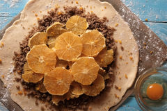Galette dough with walnuts and orange Stock Photography