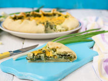 Galette with green onions, egg and cheese.  Royalty Free Stock Images
