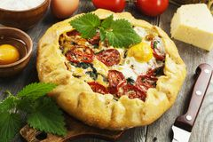 Galette with nettle. Tomatoes, cheese and egg royalty free stock images