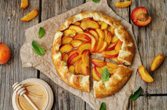Galette with peaches Royalty Free Stock Image