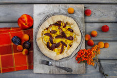 Galette with plum, pumpkin and peach royalty free stock image