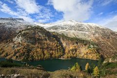 Galgenbichl dam and reservoir in the Hohe Tauern range within Carinthia, Austria. It is located immediately downstream from the Koelnbrein Dam and is the lower Royalty Free Stock Photography