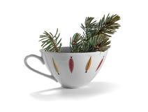 Galho Spruce em um prato de porcelana foto de stock royalty free