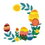Galhos e cumprimentos do vetor da grinalda da Páscoa com easter ilustração stock