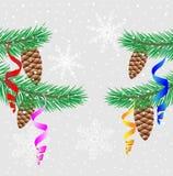 Galhos verdes do abeto vermelho com cones e serpentina do pinho ilustração do vetor