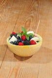 Galia melon, cantaloupe, raspberries, blackberries, blueberries Stock Photography