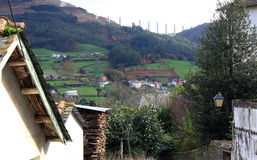 galicia bergspain town Royaltyfri Fotografi