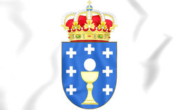 Galicia coat of arms, Spain. 3D Illustration Royalty Free Stock Images