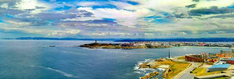 Galicia Coruña Torre de Hercules Spain roman lighthouse high rias royalty free stock photo