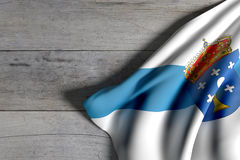 Galicia flag on wood. 3d rendering of a Galicia flag on wooden surface Stock Images