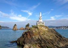 Galicia kustlinje, Covas strand, Viveiro i landskapet av Lugo, Spanien arkivfoto