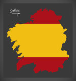 Galicia map with Spanish national flag illustration. In artwork style Royalty Free Stock Images