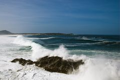 Galician Beach. Strong storm on the coast of galicia Stock Images