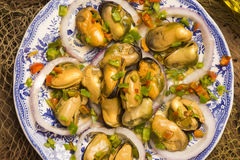 Galician mussels in vinaigrette Royalty Free Stock Images
