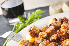 Galician octopus and red wine Royalty Free Stock Photography