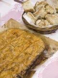 Galician pie and bread Stock Photos