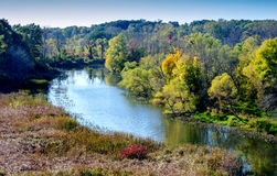 Galien river park in fall Royalty Free Stock Photo