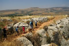Galilee landscape - hike with. Mountains and nature in Galilee, Israel - travel vacation in  Middle East - family trip at weekend Royalty Free Stock Photos