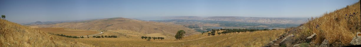 Galilee landscape panorama. Mountains and nature in Galilee, Israel - travel vacation in  Middle East Royalty Free Stock Images