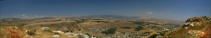 Galilee landscape panorama. Mountains and nature in Galilee, Israel - travel vacation in  Middle East Royalty Free Stock Photos